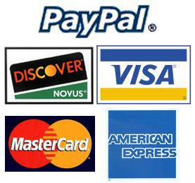 We Accepy Paypal & all Credit Cards